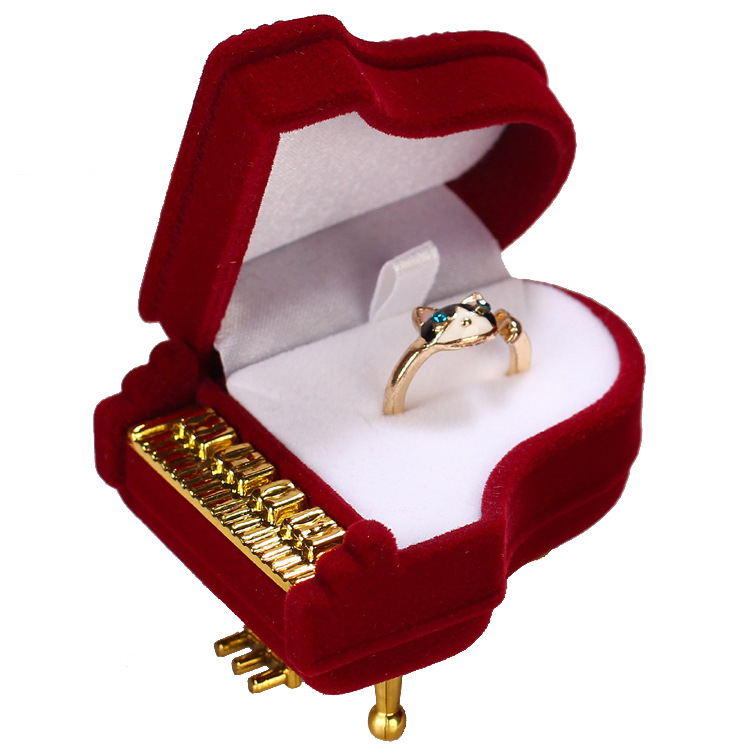 ZHZ002 Trade assurance Piano Shape Flocking Rings velvet box storage necklace jewelry earrings jewelry box women classic gift