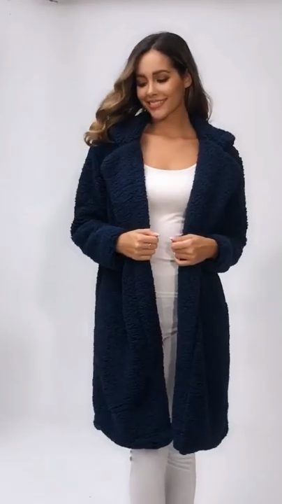 Women Long Jacket Ladies Casual Front Open Cardigan Outwear Fashion Thick Soft Warm Teddy Bear Fleece Fur Fluffy Coat