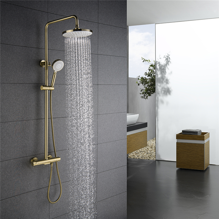 Thermostatic Bathroom Shower Mixer Wall Mounted Brushed Gold Rain Shower Set
