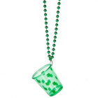 St. Patrick Day Supplies Green Shamrock Chain Shot Plastic Shot Glass Necklace With Small Cup White Plastic Bead Necklace