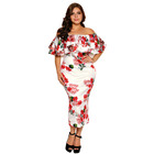 Off Shoulder Party Dresses for Flat Girls Big Lady Fashion Dress Big Size Plus Size Women Dresses