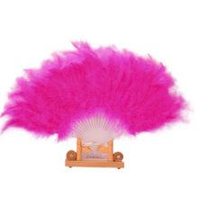 Ручной Вентилятор Свадебный танцевальный костюм Showgirl танец Элегантный Большой перо складной Ручной Веер Декор деколь abanicos para boda(Китай)
