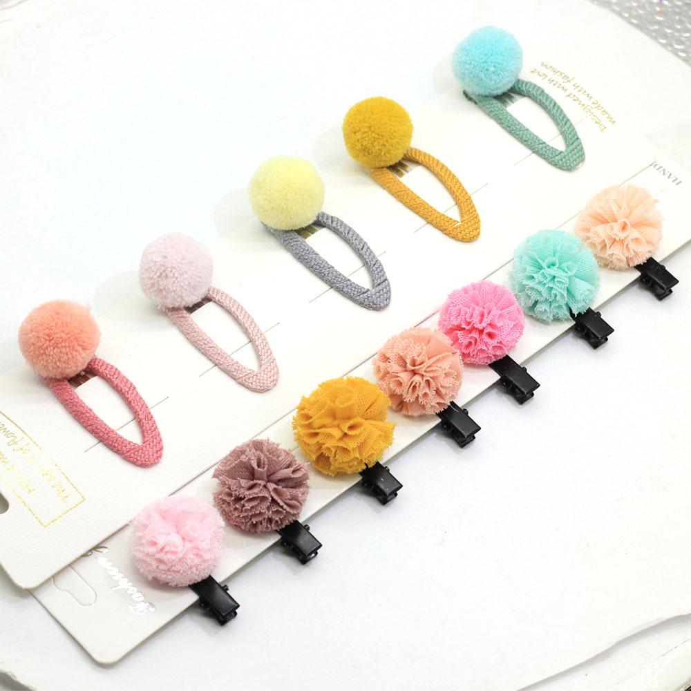 Ассорти оснастки заколки для волос с помпонами шарики для волос для маленьких девочек заколки для волос