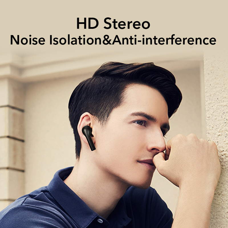 (Dropshipping OEM) QCY T5 Wireless Earbuds with Mic Bluetooth V5.0 Gaming Earphone Touch Control Waterproof Noise Canceling