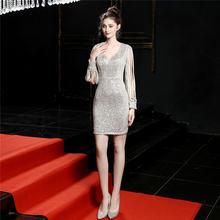 It's Yiiya платье с v-образным вырезом для выпускного вечера с длинным рукавом блестки, молния Vestidos De Gala DX242 размера плюс мини-Выпускные платья 2020(Китай)