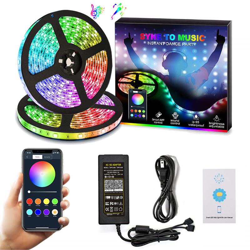 5m 10m RGB LED Strip 12V 60 leds/m Flexible LED Tape Ribbon SMD 2835 Waterproof Rope String Lamp Light LED Controller Adapter