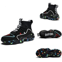 Custom no name brand high top s light up trainers hip hop leather casual unisex shoes men sneakers