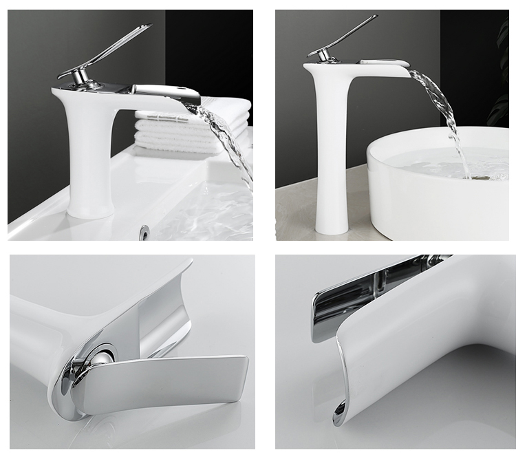 waterfall design column shape bady lebient handle white and chrome basin tap faucet