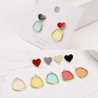 korean style transparent alloy square Heart-shaped stud earrings for Girls DIY jewelry accessories