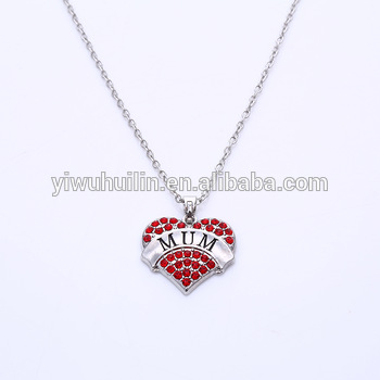 NK2201 Yiwu Huilin Jewelry Wholesale New fashion multicolor crystal lettering Daddy's girl heart pendant women necklace
