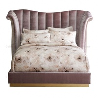 Luxury furniture pink king bed high Headboard padded and upholstered with velvet