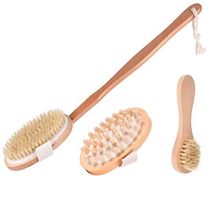 Dry Brushing Body Brush Set, Natural Boar Bristle Body Brush, Exfoliating Face Brush