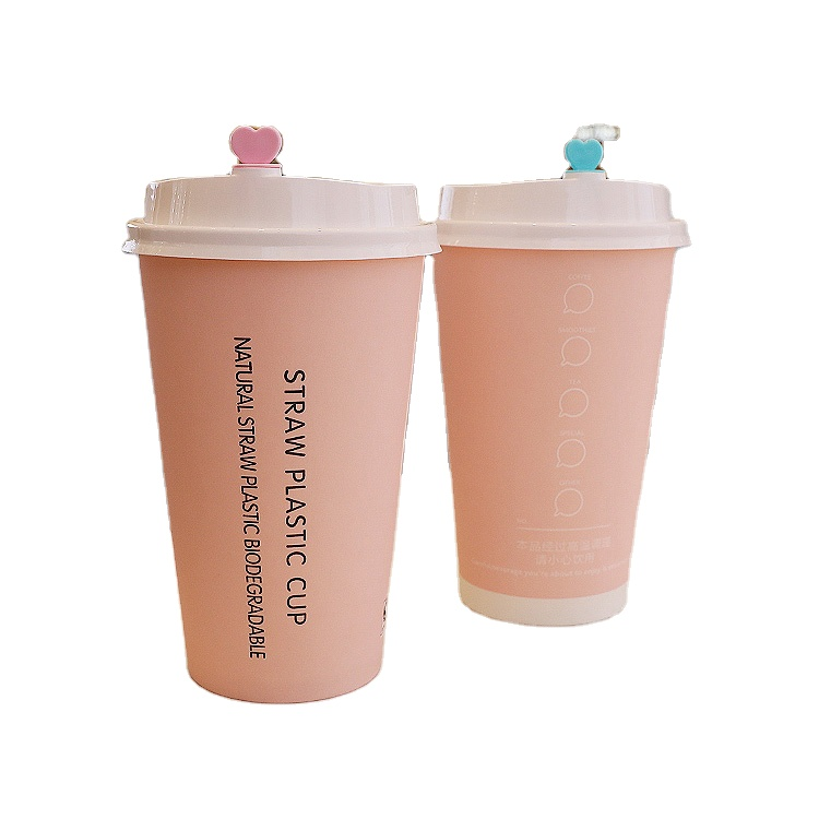 Aangepaste Gedrukt Wegwerp Roze Koffie Kartonnen Beker Met Deksel