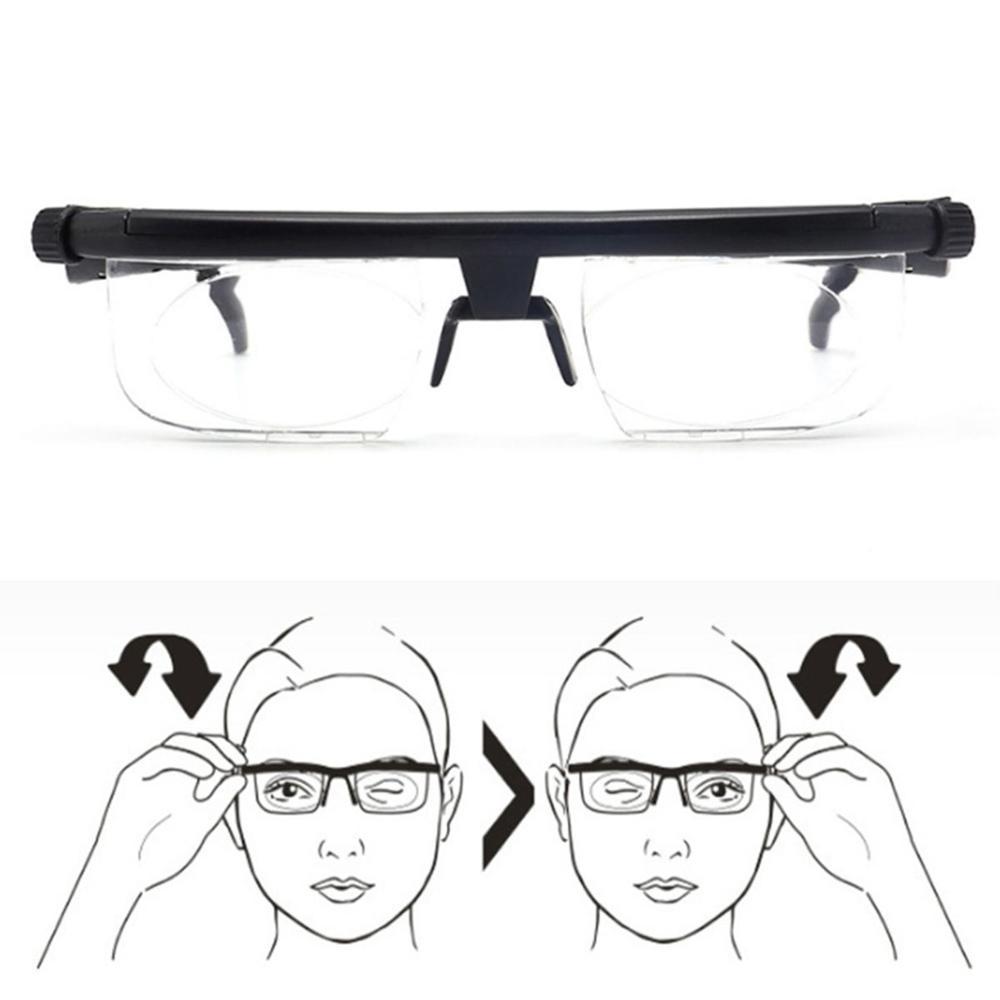 New Adjustable Lens Focus Reading Myopia Glasses Men Women Variable Strength Glasses Correction Lmpact Resistant Lenses