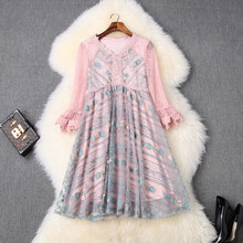 Элегантные свободные кружевные платья, новинка 2020, высокое качество, весна-лето, винтажное платье для женщин, знаменитостей, вышивка, мини, С...(Китай)