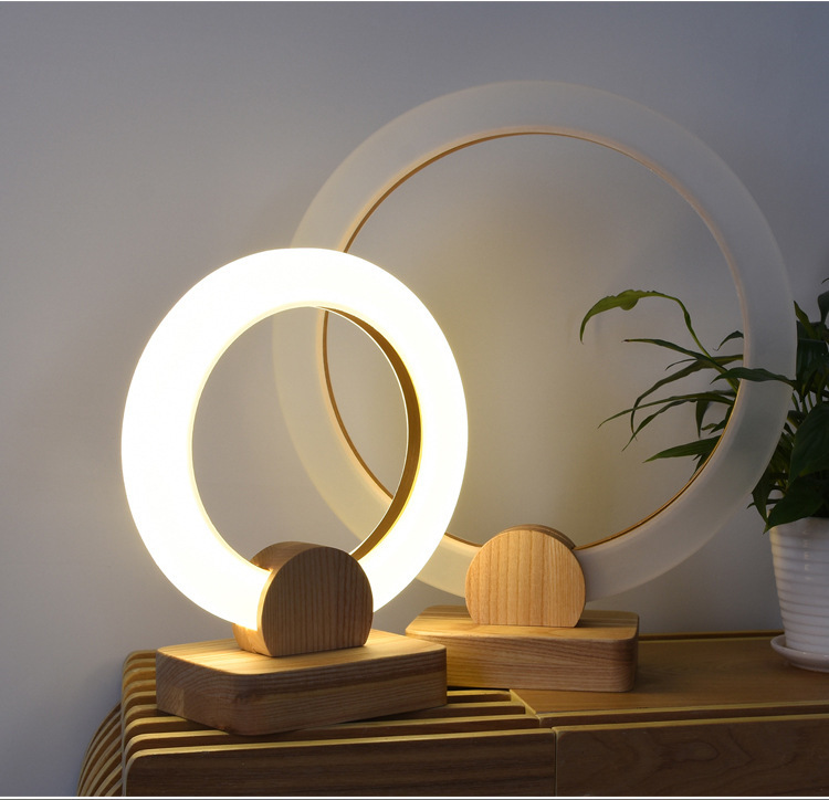 Hotel Decoration Nordic Designer Wooden Lamps Ring Bedside Wake Up LED Night Light