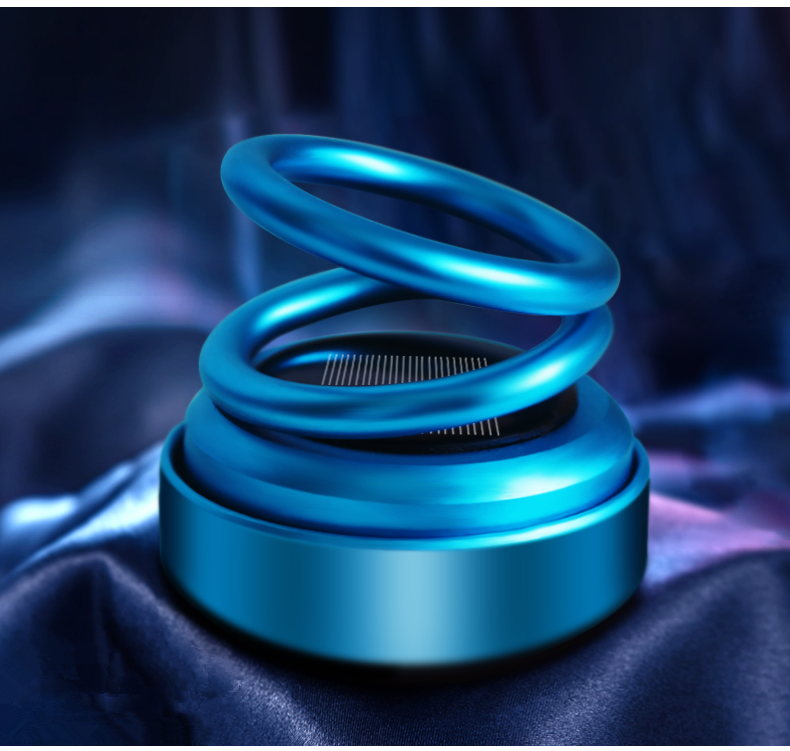 Unique Metal Aromatherapy Solar Rotating Suspended Double Ring Perfume Car Air Freshener