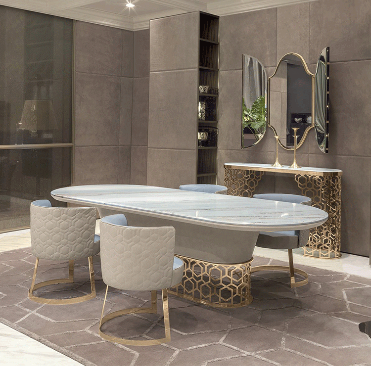 Stainless steel base Natural marble top solid wood simple dining tables for home decoration foshan factory  sales