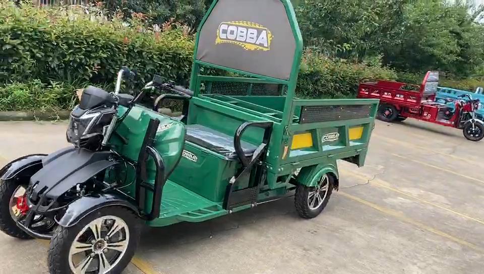 Motor de quatro rodas de carregamento, triciclo elétrico de carga de 60v 1000w, adequado para o armazém e uso na fazenda