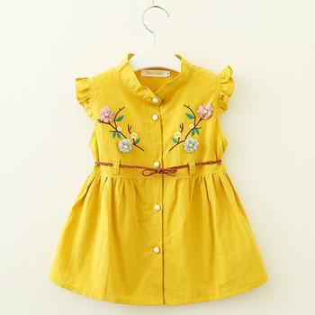 2019 new summer kids floral princess dress whosale children clothes baby girl flower embroidery soft cotton frocks
