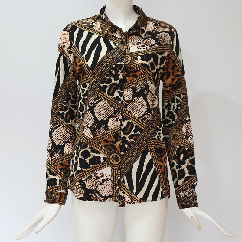Spring and Summer casual blouse female 2019 new tops Euramerican Leopard & Chain print women shirt long sleeve turn-down collar