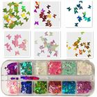 Nail Art 12 Colors Nail Art Flakes Glitter Sequins Paillette Butterfly 3D Laser Sequins Holographic Nail Art Flakes Glitter Foil