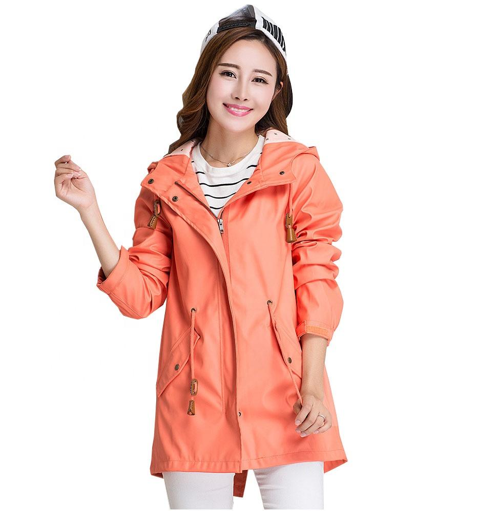 Wanita Perempuan Gadis Perjalanan Hiking Tahan Air Hooded Breathable PU Kulit Jas Hujan Jas Hujan Pakaian Poncho Mantel Jaket