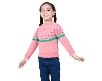 2020 new high quality embroidery mink velvet watermelon girl sleeveless jacket kids sweater
