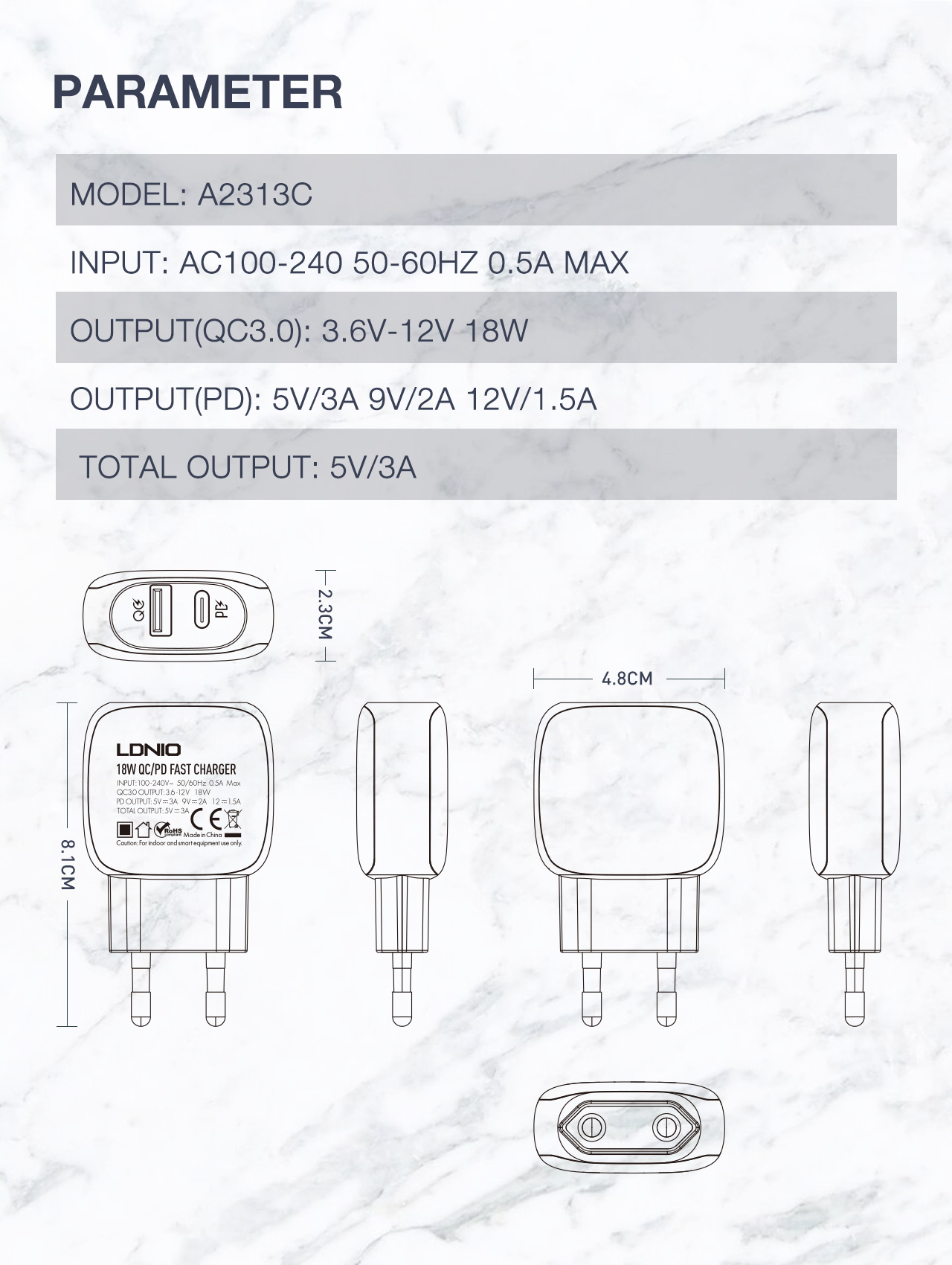 LDNIO A2313C Quick Charging Type-C PD And QC3.0 Dual USB Ports Charger With Power Of 18W