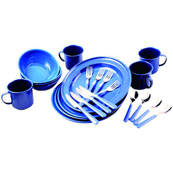 Customized durable decal pattern carbon steel enamel camping cookware dinner set