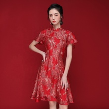 JINYE Red Rüschen Sleeve Maple Spitze A-line Flare Qipao Cheongsam Abendkleid Party Prom Formale Cocktail Kleid