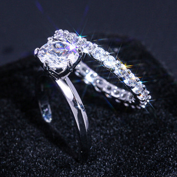CAOSHI 2pcs/lot Engagement Cubic Zirconia Ring Ladies Lover Party Wedding Jewelry Silver Rings Set for Women