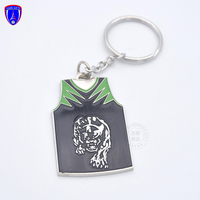 Wholesale T shirt shape silver key chain metal ring custom design keychain for sports club
