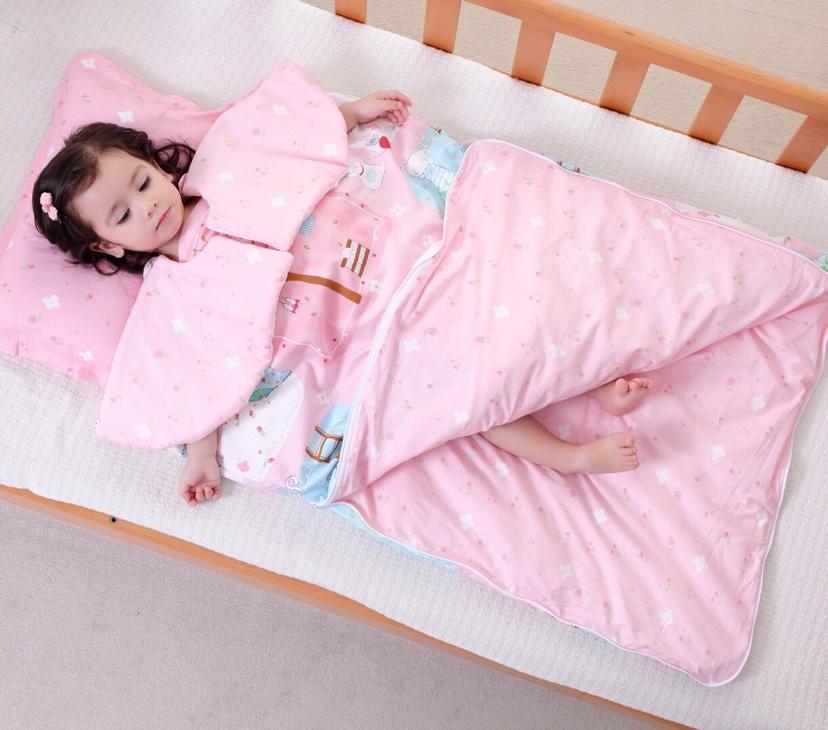 เด็กทารก anti kicking sleeping bag ผ้าห่มสำหรับ four seasons ผ้าฝ้าย 100% และผ้าห่มเด็กสีชมพู