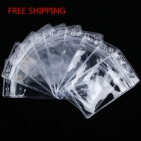 FREE SHIPPING Wholesale Vinyl Transparent Plastic Card Holder, Stock Cheap clear Soft PVC Id Badge Holder