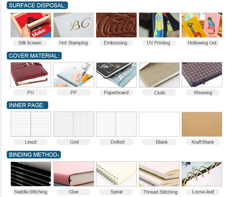OEM hardcover custom printing paper notebook A5 notebook with  journal dotted / lined / grid pages