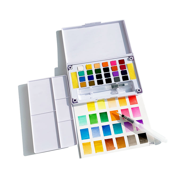 Portable 24 colors artist solid watercolour paint set with portable box