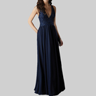 gown muslim evening dresses long mermaid navy deep v neck sequined sleeveless women dress with pockets