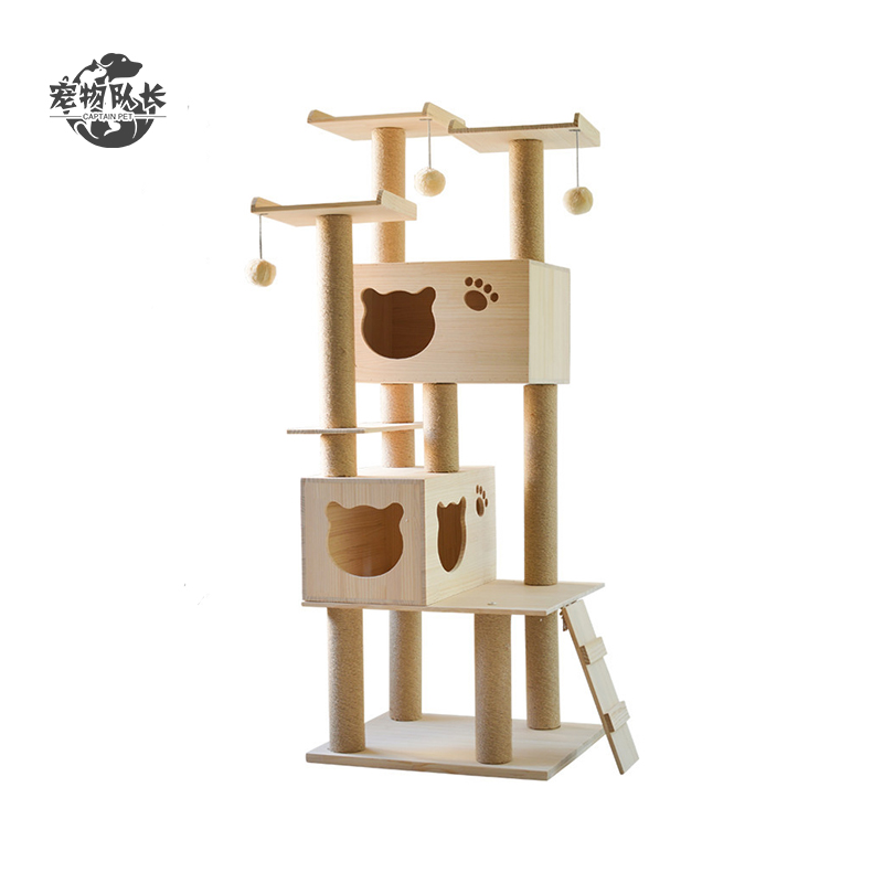 Large Sturdy Solid Wooden Cat Interactive Toys Climbing Frame Scratcher Sisal Cat Tree