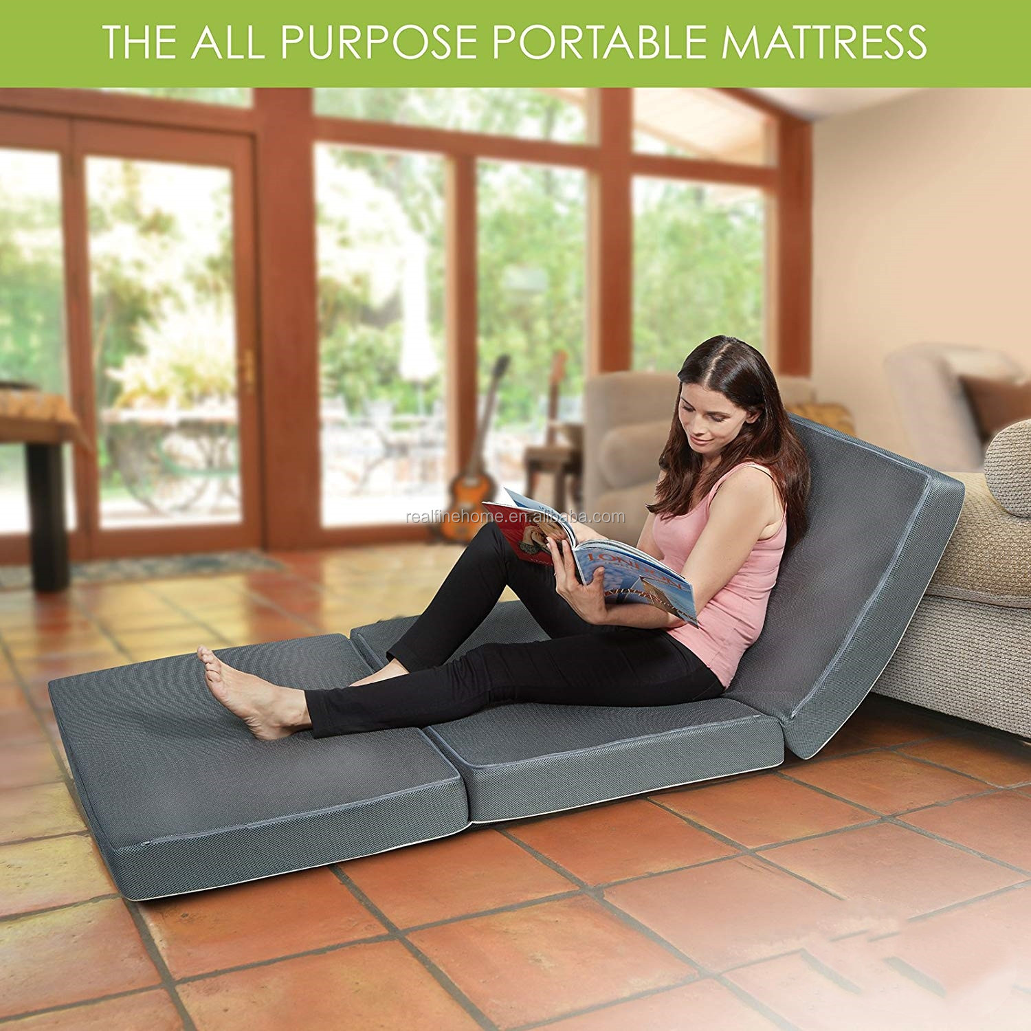 Compact and Easy Storage Multi-Purpose Spare Bed and Kids Mat Trifold Foam Folding Mattress  with bamboo bottom