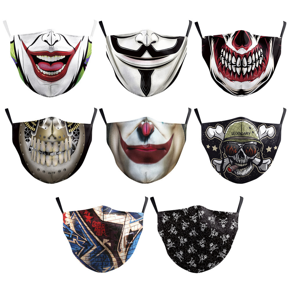 <strong>Halloween</strong> print <strong>mask</strong> Fashion Wholesale Multi Patterns Festival Party <strong>Custom</strong> <strong>Halloween</strong> Face <strong>Mask</strong> Adjustable Horror and scary