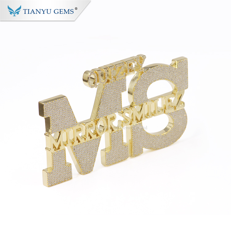 Tianyu gems hand make customized bling bling hiphop Jewelry Moissanite Logo pendant in Yellow gold plated