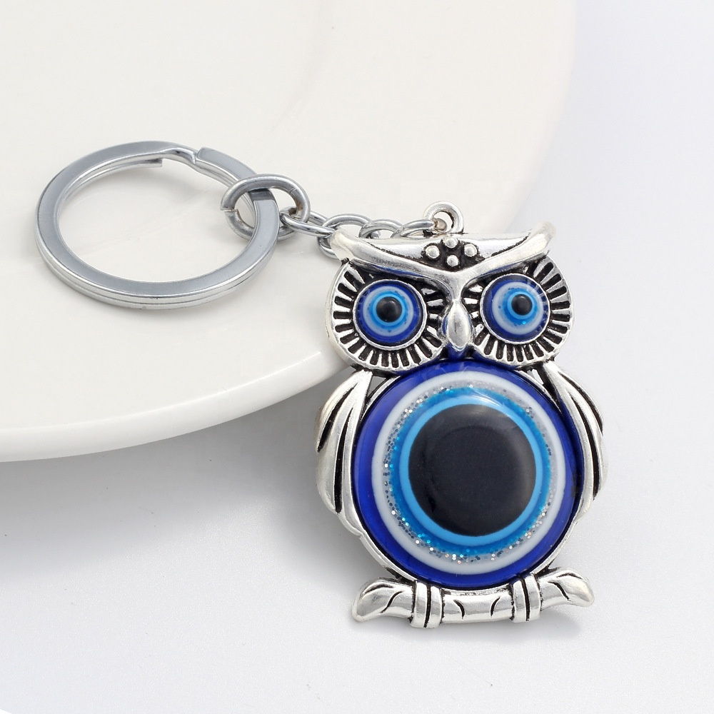 2020 تصاميم جديدة للأزياء بالجملة المفاتيح الزرقاء البومة التركية عين الشر الهدايا حلقة رئيسية