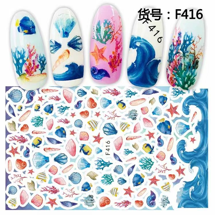 3D Flowers Halloween Ocean Nail Stickers Decals Waterproof Nail Art Decorations With Bottom Glue Durable Nail Art Decorations