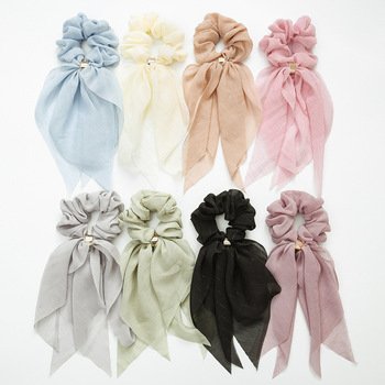 Ribbon hairbands double bowknot large intestine loop ponytail chiffon hair loop women hair scrunchies