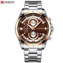 Часы CURREN для мужчин, спортивные, кварцевые, из нержавеющей стали, с секундомером(Китай)