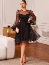 Короткое вечернее платье Smileven, черное ТРАПЕЦИЕВИДНОЕ ПЛАТЬЕ с пышными рукавами, мусульманское платье-кафтан в арабском стиле, платье для вы...(Китай)