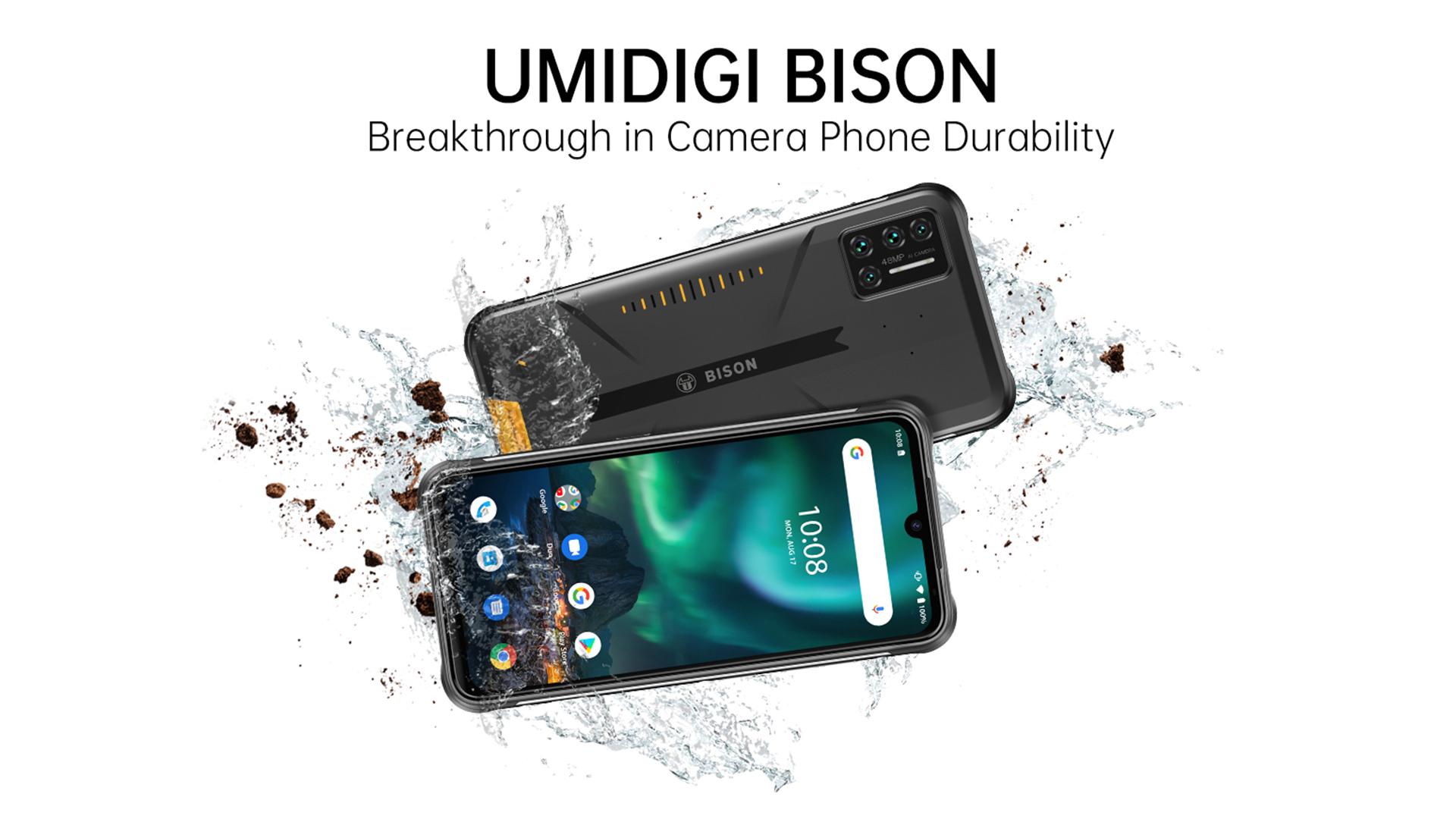 "UMIDIGI BISON IP68/IP69K Waterproof Rugged Phone 48MP Matrix Quad Camera 6.3"" FHD+ Display 6GB+128GB NFC Android Smartphone 4G"