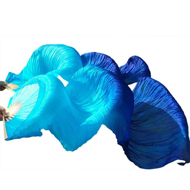 100% משי בטן רקדנית במבוק מאוורר רעלות שלב ביצועים 1.8M ארוך אוהדי צעיף אבזרי