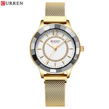 Женские кварцевые часы CURREN, повседневные часы из нержавеющей стали со стразами, элегантные часы bayan kol saati(Китай)